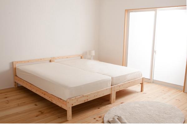 脚付きマットレスベッド ダブル 脚30cm 新・移動ラクラク!分割式ボンネルコイルマットレスベッド