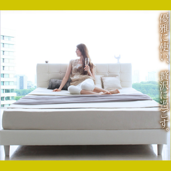 モダンデザイン・高級レザー・大型ベッド【Strom】シュトローム