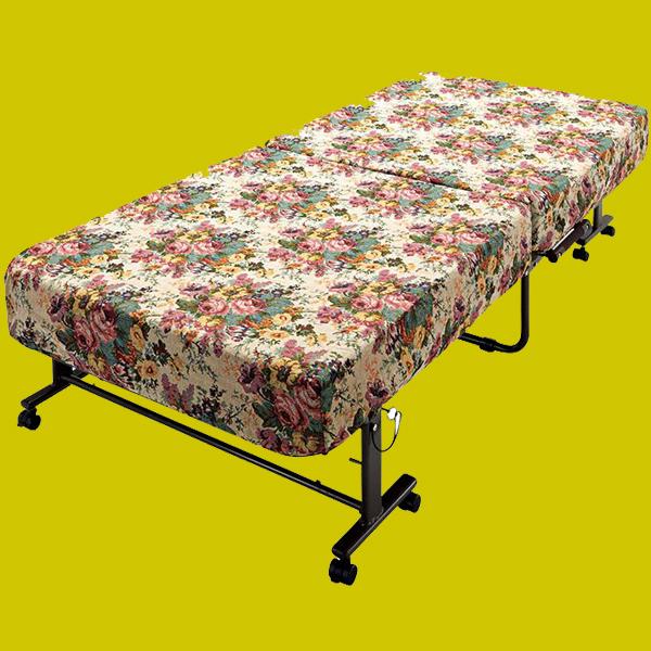 低反発ポケットコイル折りたたみベッド 【シングルサイズ】 カバー/キャスター付き 背部14段階リクライニング