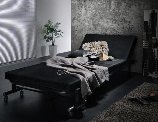 ブラック モダンデザイン・ブラックマットレス・リクライニング折りたたみベッド【Vencedor】ヴェンセドル