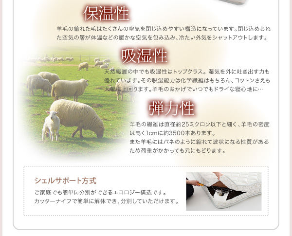 羊毛ヂュラテクノマットレス