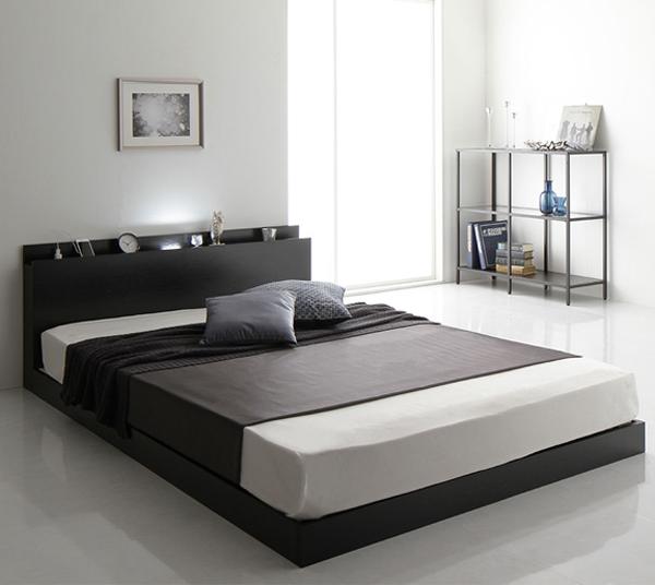 ベッド 低床 ロータイプ すのこ 木製 LED照明付き 棚付き 宮付き コンセント付き シンプル モダン ブラック ベッドフレームのみ