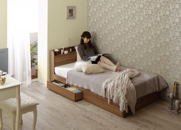 ショート丈・棚・コンセント・収納ベッド【Caterina】カテリーナ