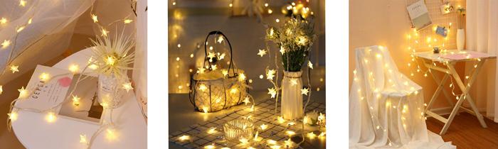 Areskey 星の形イルミネーションライト LEDフェアリーライト 10m 80球LEDストリングライト 防水電池式USB式8種類の切替モード スターガーランドライト 装飾 結婚式 ホームパーティー お誕生日パーティー クリスマスなどに最適 電飾(ウォームホワイト) FS Lighting