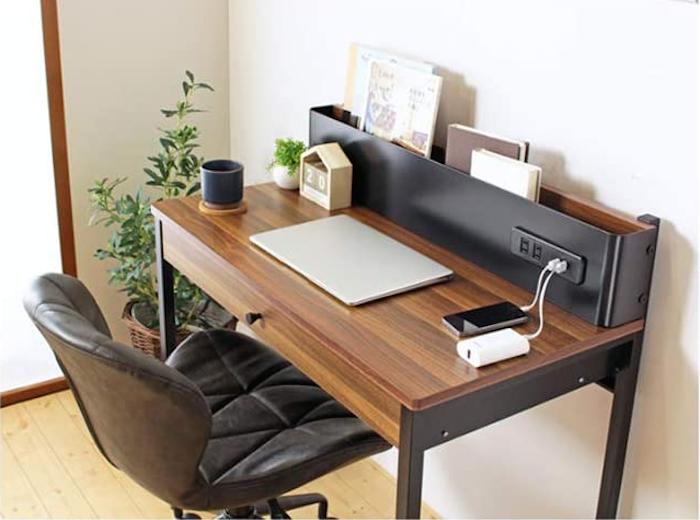 岩附(IWATSUKI) デスク USBコンセント付き 収納 木製 引き出し付き 本棚 ブラウン 幅85cm パソコンデスク コンセント付き 省スペース Nuts ナッツ IWP-277